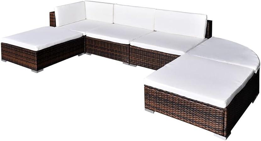 vidaXL Conjunto de Muebles de Jardín 16 Piezas Ratán Sintético Marrón y Blanco: Amazon.es: Hogar