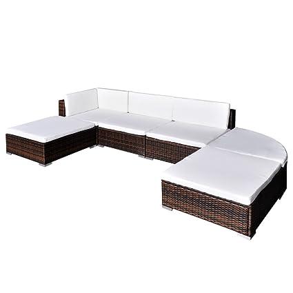 vidaXL Conjunto de Muebles de Jardín 16 Piezas Poli Ratán Color ...