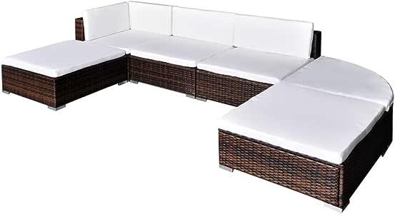 vidaXL Conjunto de Muebles de Jardín 16 Piezas Ratán Sintético ...