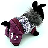 PEGASUS SELMAI Puppy Snowsuit Dog Jumpsuit Birthday Outfits Fleece Lined Dog Coat Jacket Winter Small Dog Clothes Pattern Purple L For Sale