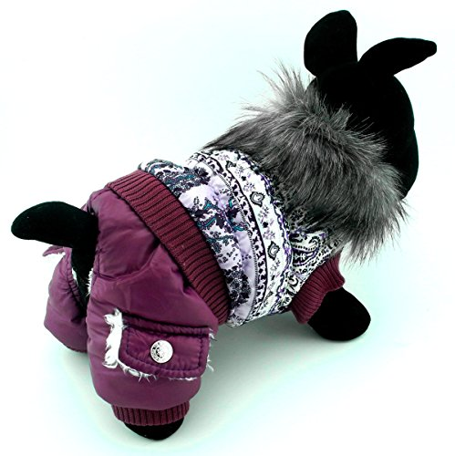 PEGASUS SELMAI Puppy Snowsuit Dog Jumpsuit Birthday Outfits Fleece Lined Dog Coat Winter Jacket Small Dog Clothes Pattern Purple ()