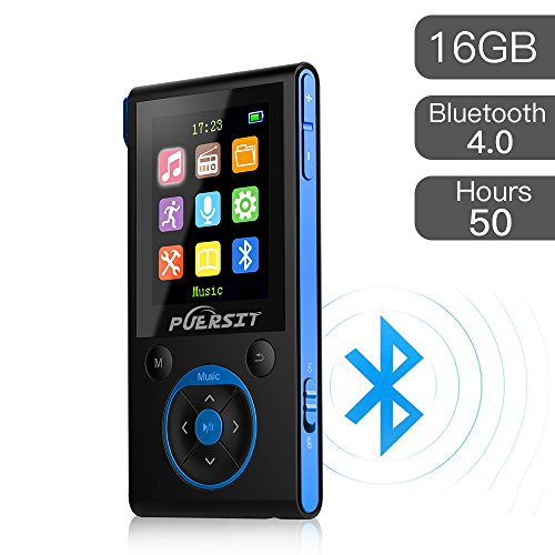 (MP3 Player with Bluetooth and FM Radio,16GB Portable HIFI Lossless Sound MP3/MP4 Music Player with Pedometer/Voice Recorder for Sports,50 Hours Playback (Max expand to 128GB))