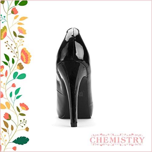 Chemistry® G-6004 Peep Toe High Fashion Rund Tå Sexig Stilett Hög Klack Pump Skor Svart