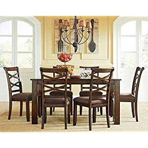 "Standard Furniture Redondo Table and six chair set, 60""W x 36""D x 30""H, Brown"