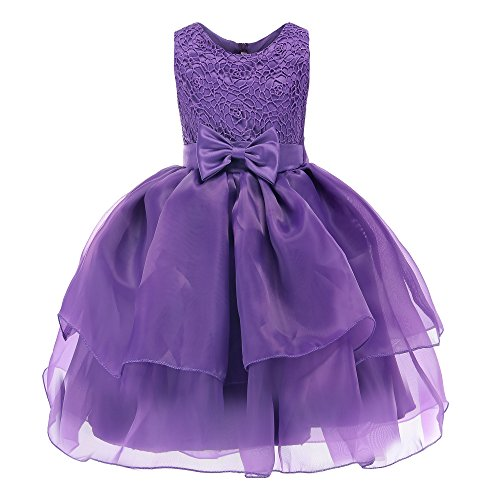 Fiream Flower Girls Dresses Tulle Sleeveless Princess Pageant Wedding Party Dresses(purple,7T/7-8YRS) by Fiream