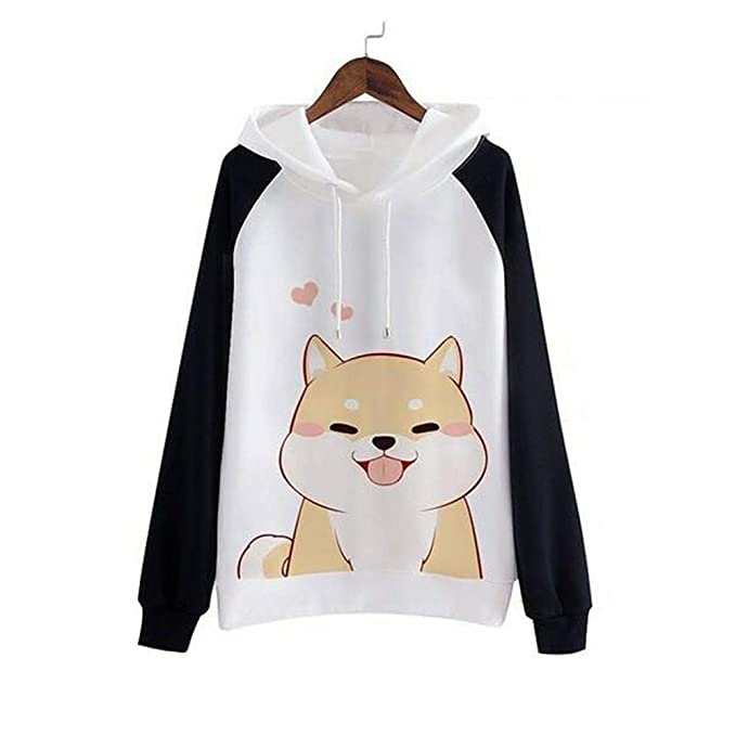 Hemlock Teen Cute Dog Print Sweater Pullover Tops Hoodies Blouse Tunic Shirt Long Sleeve Sweatshirt Jumper at Amazon Womens Clothing store: