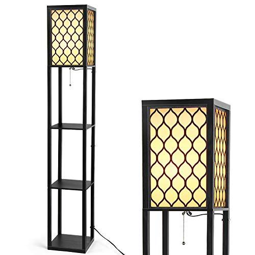 Modern Shelf Lamp - Albrillo Floor Lamp with Shelves for Home Office Living Room, Wooden Frame Standing Light, Hollow Pattern (Clock Etagere)
