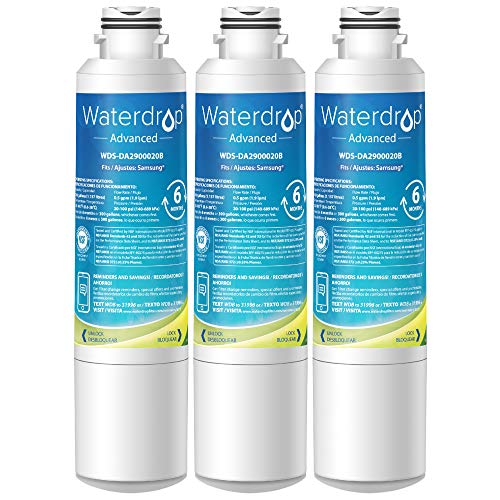 Waterdrop NSF 53&42 Certified DA29-00020B Refrigerator Water Filter, Compatible with Samsung DA29-00020B, DA29-00020A, HAF-CIN/EXP, 46-9101, Advanced, Pack of 3