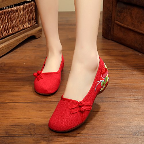 Scarpe Red Ngrdx Donna amp g Piatto Solid Ricamato Calzature Cinese Oxford  qwpBSw 6d8b0b563e5