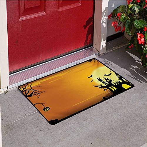 Jinguizi Halloween Front Door mat Carpet Gothic Haunted House Bats Western Spooky Night Scene with Pumpkin Drawing Art Machine Washable Door mat W15.7 x L23.6 Inch Orange Black -