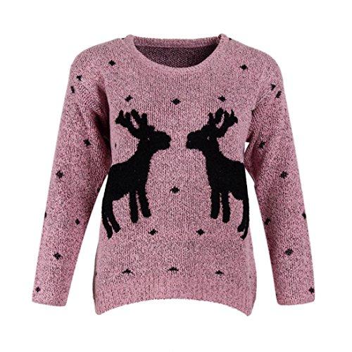 Donne maniche Little Merry a renne maglia Christmas righe Rosa di motivo Longra lunghe maglia Two con a acriliche Deer 1wvqAAd