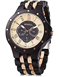 Bewell W116C Mens Wooden Watch with Date Day Luminous Hands Lightweight Wristwatch (Ebony+Maple)