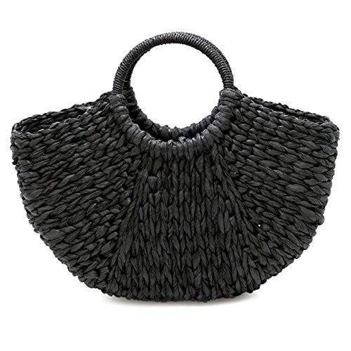 Asap Chic Handmade Bag Women Shopping For Lighter Summer Straw Bag Simple Handbag Bag Black Broken