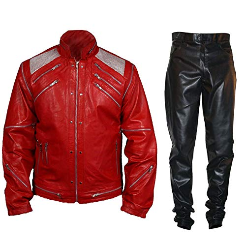 Mens MJ Michael Jackson Beat It Thriller Retro Red Faux Leather Jacket Costume]()