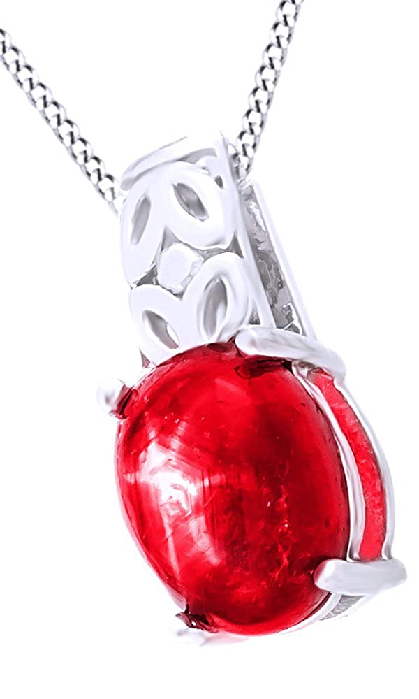 2.1 Cttw Jewel Zone US Simulated Ruby Solitaire Pendant Necklace in 14k Gold Over Sterling Silver
