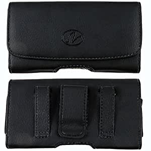 (Plus Size ) Black Leather Belt Clip Swivel Pouch [Vertical Style ] Case (fits the Phone + Otterbox Defender/Mophie Juice Pack/ Extended Battery/ Lifeproof (this case will to big if you want fit with phone itself) For Alcatel OneTouch POP S9