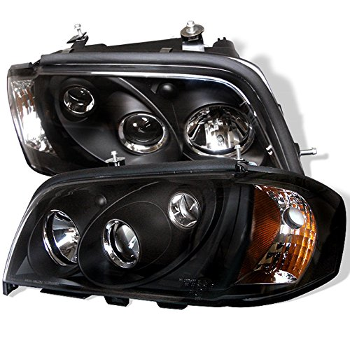 Mercedes Benz W202 C-Class Black Bezel Dual Projector Halogen Type Projector Headlights Lamps Pair