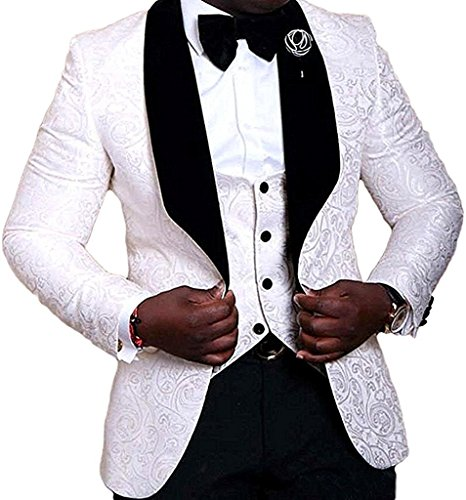 Jacquard Paisley Floral Pattern Slim Fit Stage Costumes Groom Men Wedding Suits Prom Tuxedos Blazer Coat Pant White -