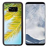 Luxlady Samsung Galaxy S8 Plus S8+ Aluminum Backplate Bumper Snap Case IMAGE ID: 40164468 Beautiful coconut palm tree on blue sky vintage filter