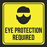 Aluminum Eye Protection Required Print Picture Yellow Black Notice Construction Area Caution Safety Public School, 12x12