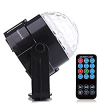 Supertech 2016 Newest 7 Color Changes With Remote Control Sound Actived Auto Flash RGB Mini Rotating Magic Ball Stage Lights For KTV Xmas Party Wedding Show Club Pub Disco DJ And More