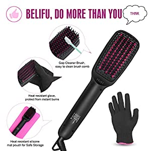 Belifu Ionic Hair Straightener Brush Dual Voltage with Silicone Mat Pouch for Safe Storage, Straightening Comb Protect Sensitive Scalp, 30s Fast Ceramic Heating, Auto Off,with Comb Cleaner and Glove