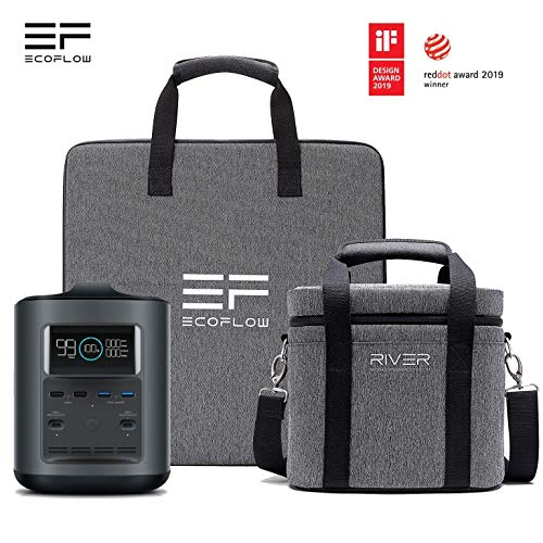 EF ECOFLOW River 370 Portable Power Station 370Wh 100000mAh High Capacity 500W Output Max Bidirectional PD Type-C Input/Output + Solar Charger Panel 50W + Padded Case - Energy Bundle Black