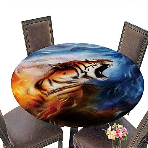 PINAFORE Round Tablecloth Gentle Portrait Tiger Color Abstract Animal Concept for Kitchen 47.5