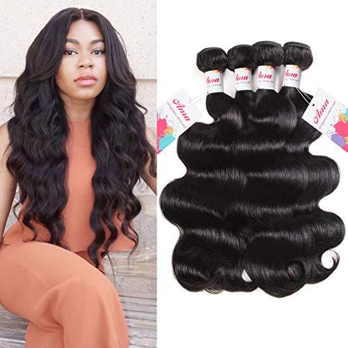 Hair Bundles Body Wave Weave Human Hair Bundles 8a Unprocessed Virgin Human Hair Extensions for African Americans Women 4 Bundles Total 400g (16 18 20 22inch) ()