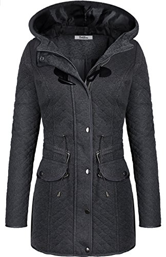 BodiLove Women's Hooded Quilted Jacket with Drawstring Charcoal M - Womens Toggle Coat