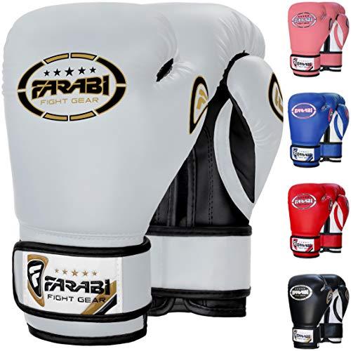 FARABI Junior Boxing Gloves Kids Boxing Gloves Sparring Training Gloves (White, 8-oz)