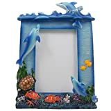 Decorative Swimming Dolphins Desktop Picture Frame with Coral, Fish and Turtle That Holds 4 X 6 Photo for Beach & Tropical Home Decor or Gifts for Dolphin Lovers