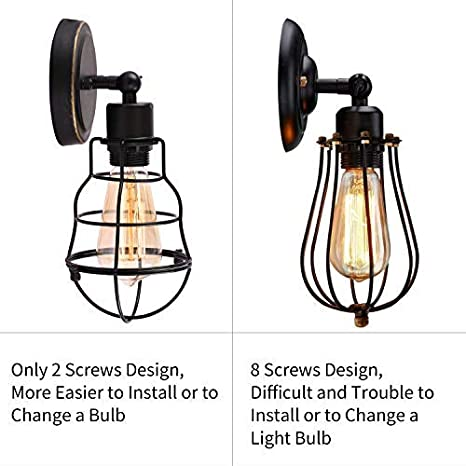 Amazon.com: Jaula de alambre industrial pared Sconce Plug-in ...