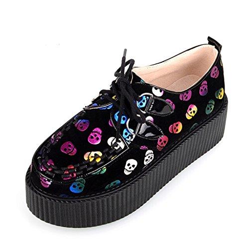 RoseG Girl's Fashion Skulls Print Platform Punk Goth Flats Creepers Shoes Red Size8