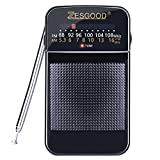 ZesGood Radio Portable Radio AM FM Battery Operated for Walking Hiking Camping Powered by 2AA Battery, Good Selectivity, Power Saving