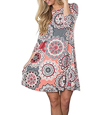 Voghtic Women's Casual Floral Printed O Neck Long Sleeve Swing Mini Dress with Pocket