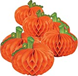 Fun Express Hanging Honeycomb Paper Tissue Pumpkins | 2-Pack (12 Count) | Great for Halloween-Themed Party Decorations: more info