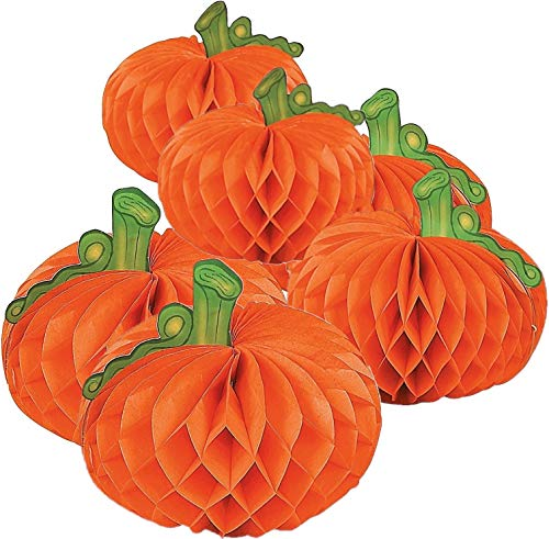 Fun Express Hanging Honeycomb Paper Tissue Pumpkins | 2-Pack (12 Count) | Great for Halloween-Themed Party Decorations -