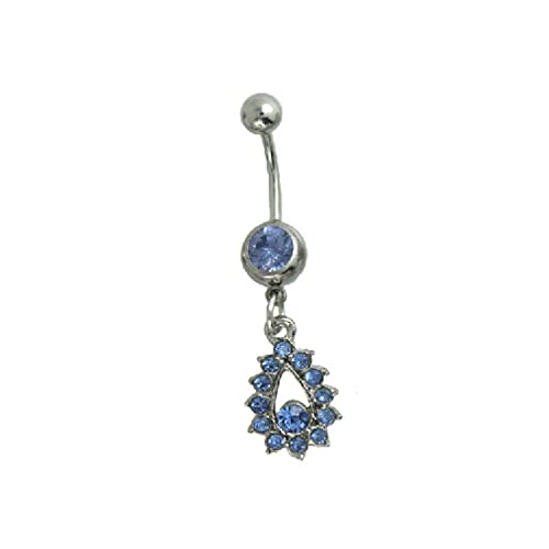 Surker Evil Eye Belly Ring Diamond Long Dangle Navel Ring Sky Blue
