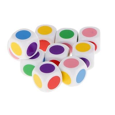 10pcs / Set Juguetes Educativos Juego de Mesa Dados en Cuadritos 6 Colores 16mm: Juguetes y juegos