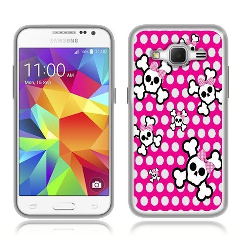 Samsung Galaxy Core Prime G360 Prevail LTE Case, Fincibo (TM) TPU Silicone Protector Cover Soft Gel Skin, Cute Skull With Dot Bow On Dot Pattern
