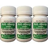 Anti-Allergy Antihistamine Chlorpheniramine Maleate 4 mg Generic for Chlor-Trimeton Allergy 100 Tablets per Bottle 3 PACK Total 300 tablets