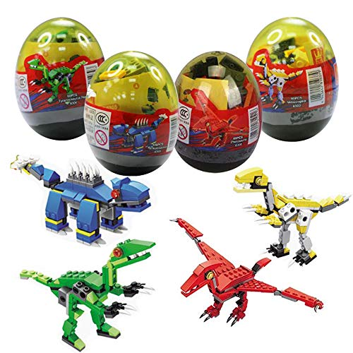 (Anditoy 4 Pack Dinosaur Building Blocks in Jumbo Easter Eggs with Toy Inside for Kids Boys Girls Easter Gifts Easter Basket Stuffers)