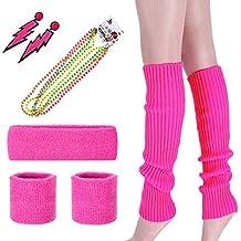KQueenStar Costume 80s Fancy Outfit accessories Set-Neon Headband,Leg Warmers,Gloves