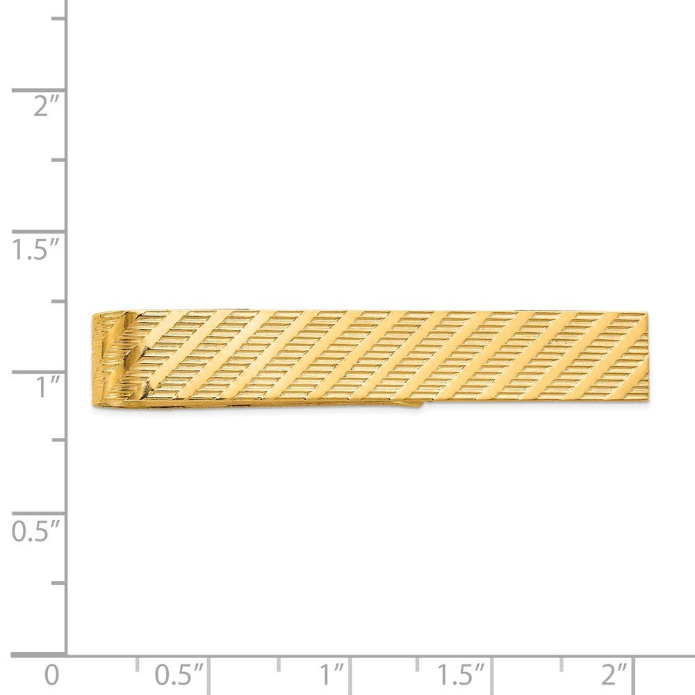 14K Yellow Gold Grooved Tie Bar Clip by Accessory Tie Bar (Image #4)