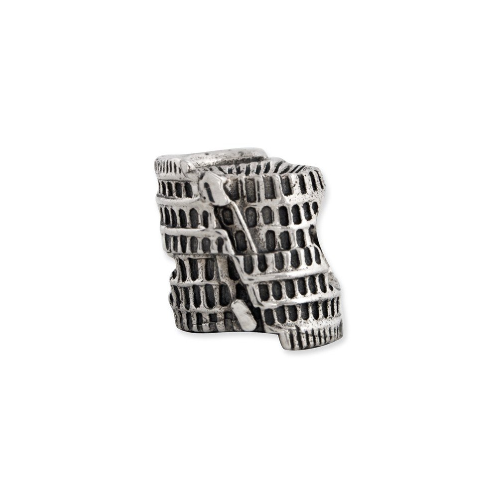 3D Colosseum Charm in Antiqued Sterling Silver for 3mm Bead Bracelets