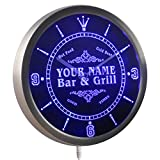 ncu-tm Name Personalized Custom Family Bar & Grill Beer Home Neon Sign LED Wall Clock