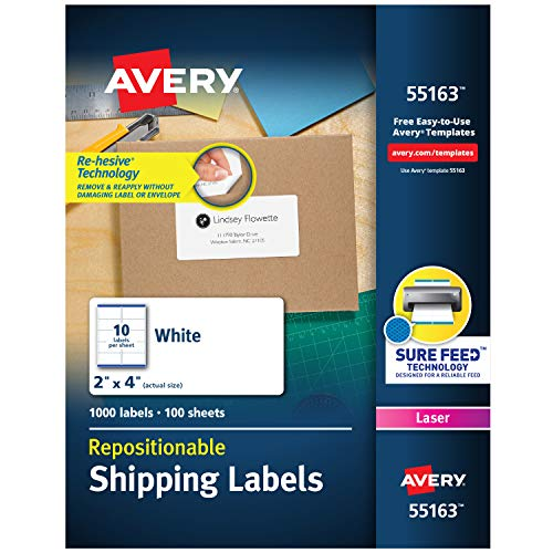 (Avery Repositionable Shipping Labels for Laser Printers 2 x 4, Box of 1,000 (55163) )