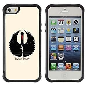 Suave TPU Caso Carcasa de Caucho Funda para Apple Iphone 5 / 5S / Black Swan / STRONG