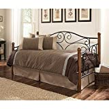 Doral Complete Metal Daybed with Link Spring and Trundle Bed Pop-Up Frame, Matte Black Finish, Twin
